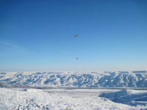 December helicopter lift in Dinosaur Provincial Park